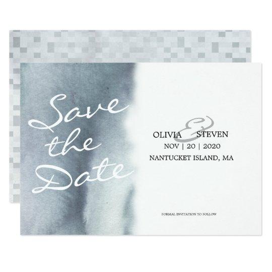 夢みるようなブルーグレーの水彩画の結婚式の保存日付 12.7 X 17.8 インビテーションカード