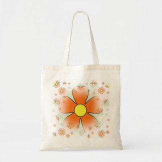 夢みるようなレトロのオレンジ花の予算のトートバック トートバッグ