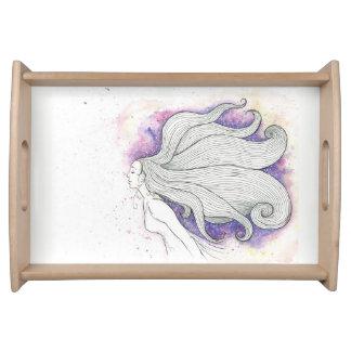 夢みるような女の子のイラストレーションのサービングの皿 トレー