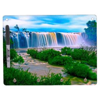 夢みるような滝の景色 キーホルダーフック付きホワイトボード