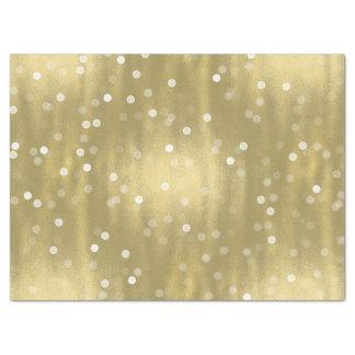 夢みるような金ゴールドおよび白い紙吹雪の《写真》ぼけ味の結婚 薄葉紙