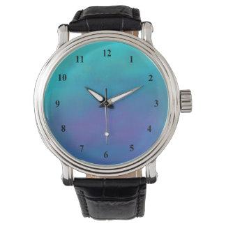 夢みるような青の抽象デザイン 腕時計