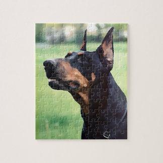 夢みるような(犬)ドーベルマン・ピンシェルの顔の絵画 ジグソーパズル