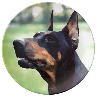 夢みるような(犬)ドーベルマン・ピンシェルの顔の絵画 磁器プレート