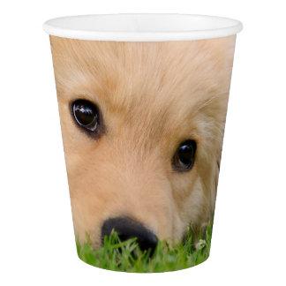 夢を見ているゴールデン・リトリーバーのかわいい子犬パーティー 紙コップ
