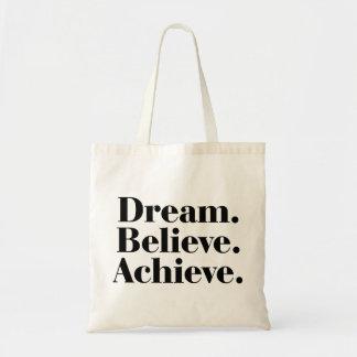 夢。 信じて下さい。 達成して下さい。 生命引用文のトートバック トートバッグ