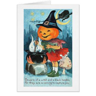 大がまのヴィンテージハロウィンのカボチャ魔法使い グリーティングカード