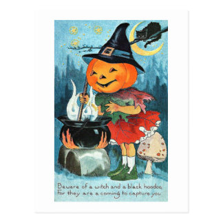 大がまのヴィンテージハロウィンのカボチャ魔法使い ポストカード