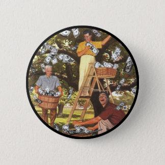 大きいお金の木ボタン 5.7CM 丸型バッジ