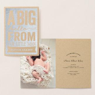 大きいこんにちはの小さい人の男の赤ちゃんの誕生の発表 箔カード