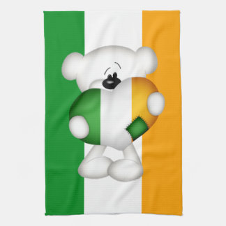 大きいアイルランドのハートのかわいいテディー・ベア キッチンタオル