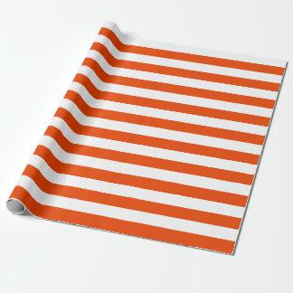 大きいオレンジおよび白のストライプの包装紙 ラッピングペーパー