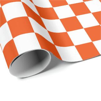 大きいオレンジおよび白の点検の包装紙 ラッピングペーパー