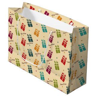 大きいカラフルなクリスマスのプレゼントのバッグ- ラージペーパーバッグ