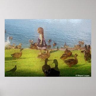 大きいキャンバス・ダックの女の子ポスター ポスター