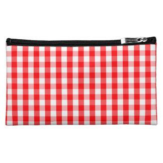 大きいクリスマスの赤と白のギンガムの点検の格子縞 コスメティックバッグ