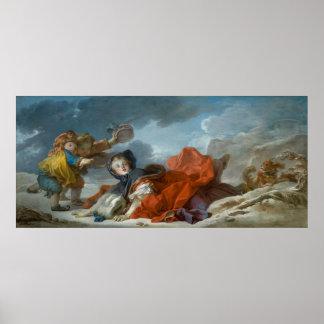 大きいジーンHonore Fragonard著冬 ポスター