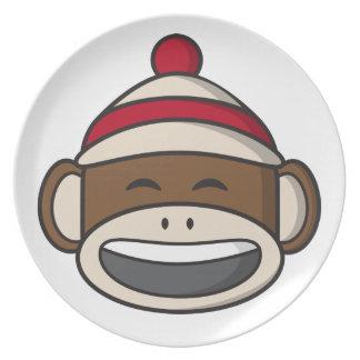 大きいスマイルのソックス猿Emoji プレート