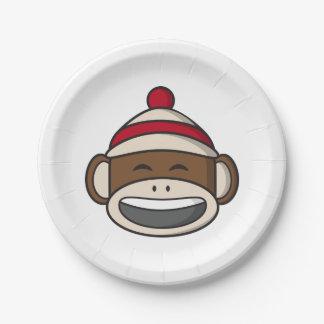 大きいスマイルのソックス猿Emoji ペーパープレート