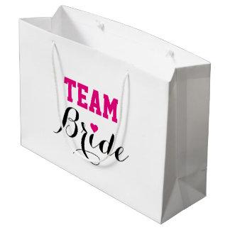 大きいチーム花嫁のショッキングピンクのハートのギフトバッグ ラージペーパーバッグ