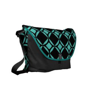 大きいティール(緑がかった色)のモダンなダイヤモンドパターンメッセンジャーバッグ クーリエバッグ
