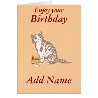 大きいハンバーガーを食べている漫画猫。誕生日は、名前を加えます カード