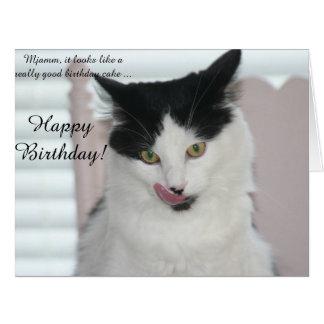 大きいバースデー・カード: ケーキを楽しむこと準備ができた猫 カード