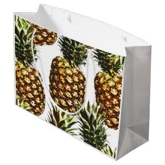 大きいパイナップルパターン(透明なBGC) ラージペーパーバッグ