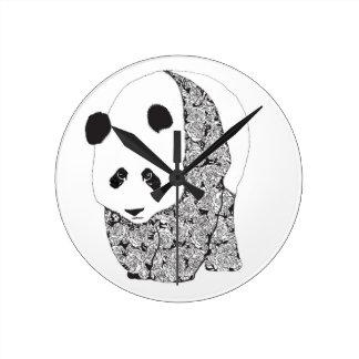 大きいパンダの養樹園の時計 ラウンド壁時計