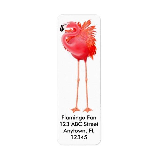 大きいピンクのフラミンゴのラベル 返信用宛名ラベル