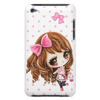 大きいピンクの弓を持つかわいい小さな女の子 Case-Mate iPod TOUCH ケース