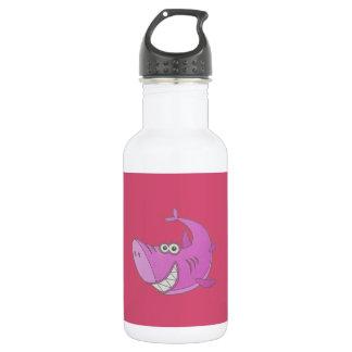 大きいピンクの漫画の鮫 ウォーターボトル