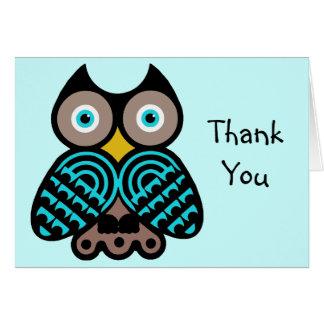 大きいフクロウはメッセージカード感謝していしています カード