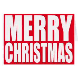 大きいブロックの白いメリークリスマス カード