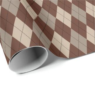 大きいベージュ色およびブラウンのアーガイル柄のな包装紙 ラッピングペーパー