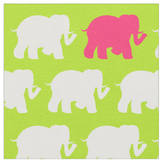 大きいライムグリーン象の生地 ファブリック