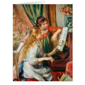 大きいルノアール著ピアノの2人の女の子 ビッググリーティーングカード