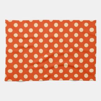 大きいレトロの点-マンダリンおよび淡い色のなオレンジ キッチンタオル