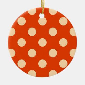 大きいレトロの点-マンダリンおよび淡い色のなオレンジ セラミックオーナメント
