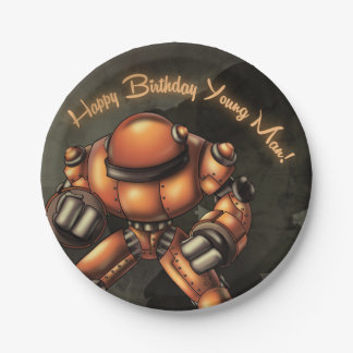 大きいロボット誕生日の紙皿 ペーパープレート