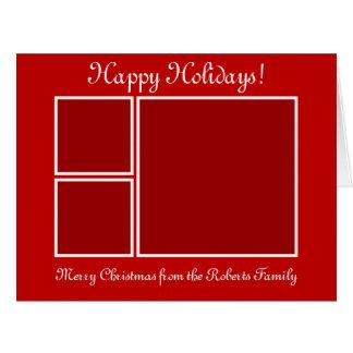 大きい写真のコラージュのクリスマスの挨拶状 カード