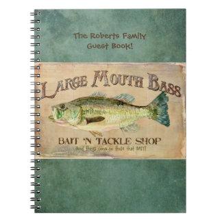 大きい口の低音のfishing湖の小屋の装飾の青 ノートブック
