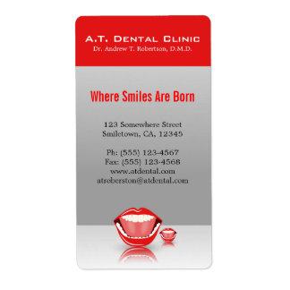 大きい口の専門の歯科差出人住所ラベル 発送ラベル