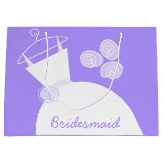 大きい婚礼衣裳の紫色の新婦付添人 ラージペーパーバッグ