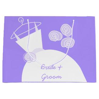 大きい婚礼衣裳の紫色の花嫁及び新郎 ラージペーパーバッグ