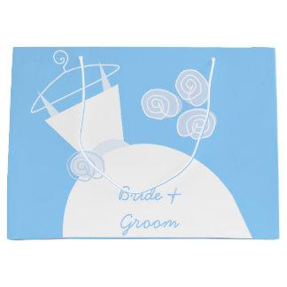 大きい婚礼衣裳の青い花嫁及び新郎 ラージペーパーバッグ