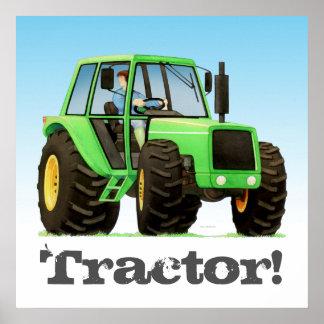 大きい子供のカスタムな緑の農場トラクター ポスター