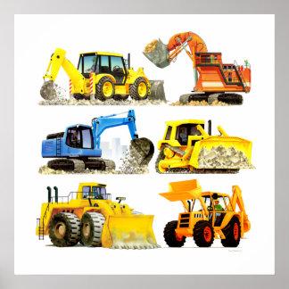 大きい子供の建築の坑夫および掘削機 ポスター