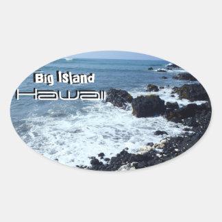 大きい島のハワイの黒い砂のビーチのステッカー 楕円形シール