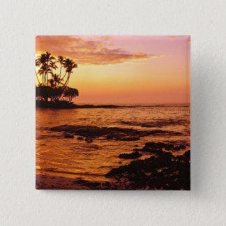 大きい島、ハワイ。 日没、大きい島ハワイ。 2 5.1CM 正方形バッジ